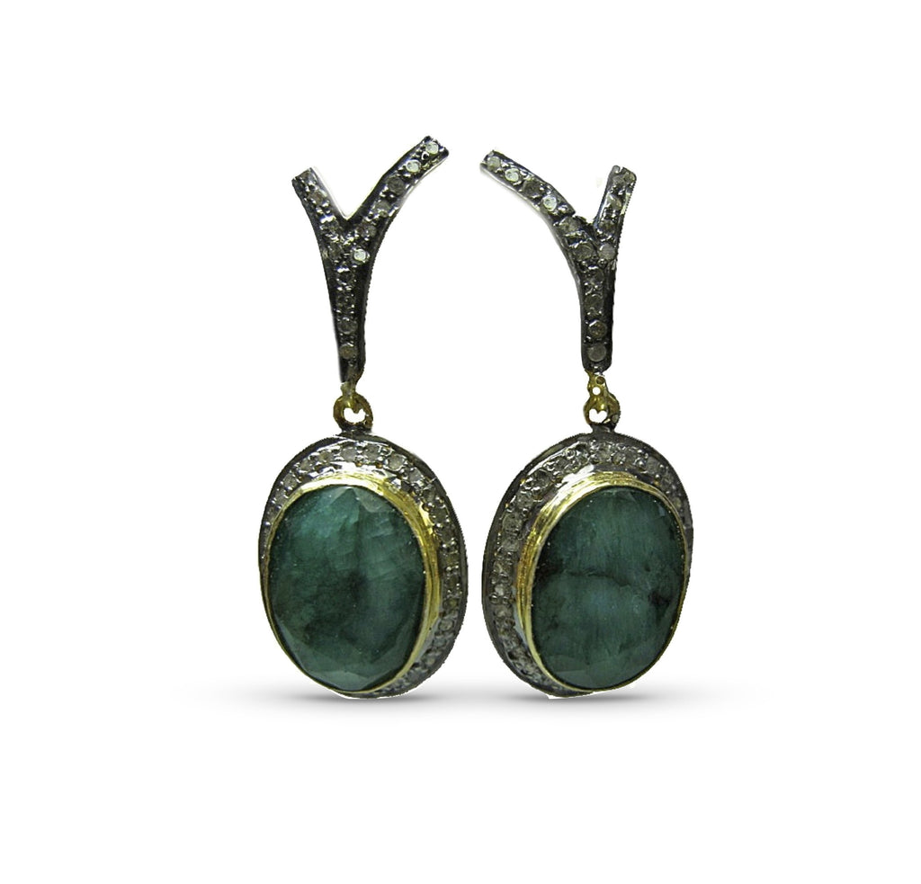 Emerald Wishbone Earrings
