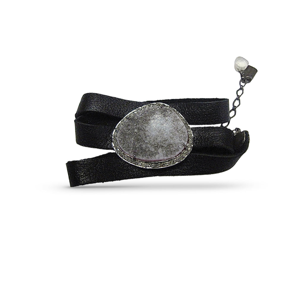 Feelin' Druzy Leather Wrap (*OOAK)