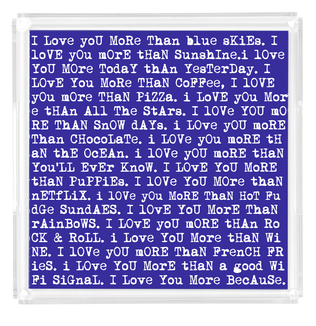 """Love Letters"" Blue Lucite Tray"