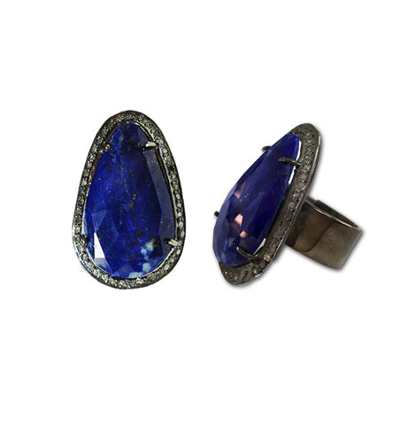 Lapis & Diamond Slice Ring