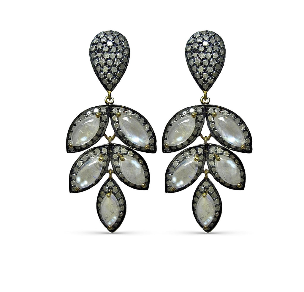 Delilah Moonstone & Diamond Earrings