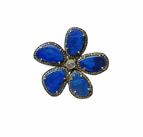 Flower Power Opal and Diamond Ring