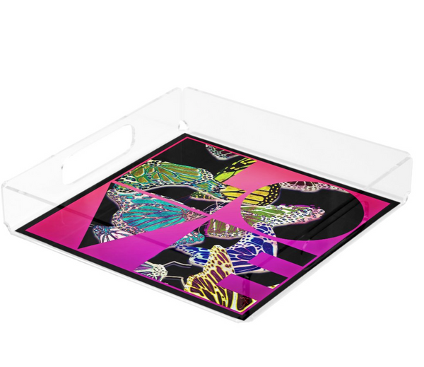 Love and Butterflies Lucite Tray