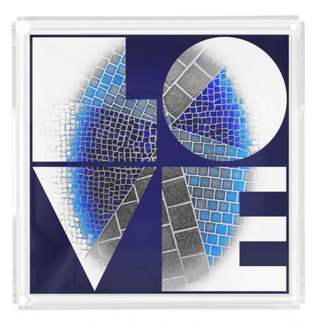 """LOVE"" Blue Mosaic Lucite Tray"