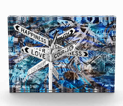 """Love + Courage Blue""  Photo Block"