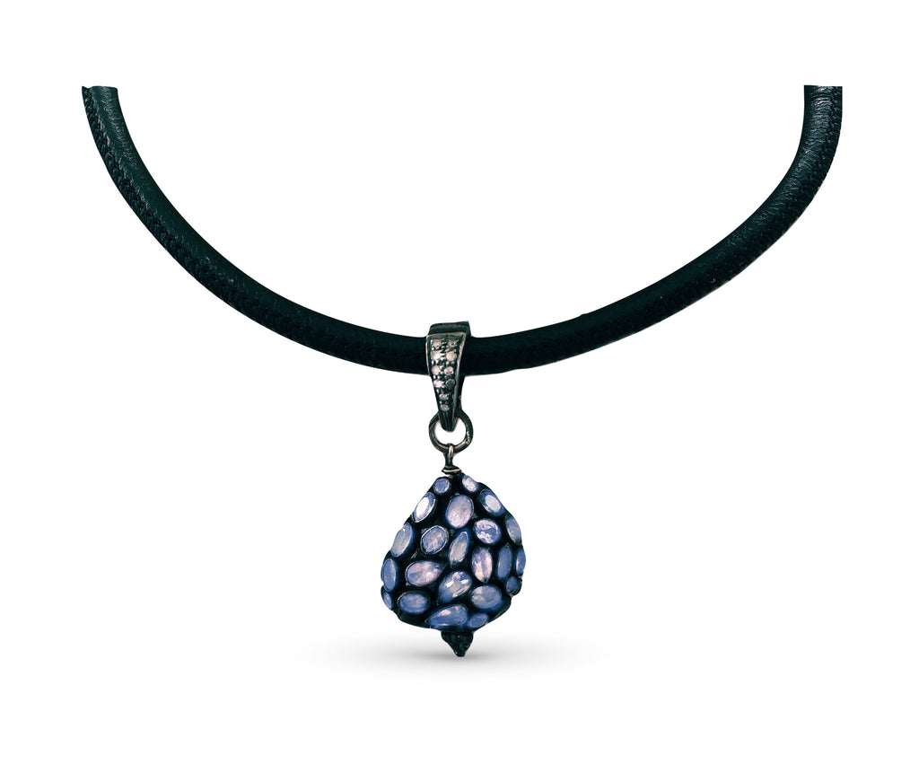 Tanzanite Leather Choker