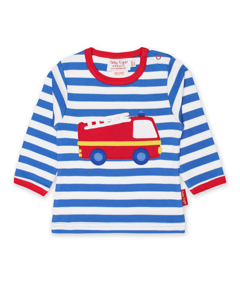 Toby Tiger Organic Fire Engine Appliqué Top