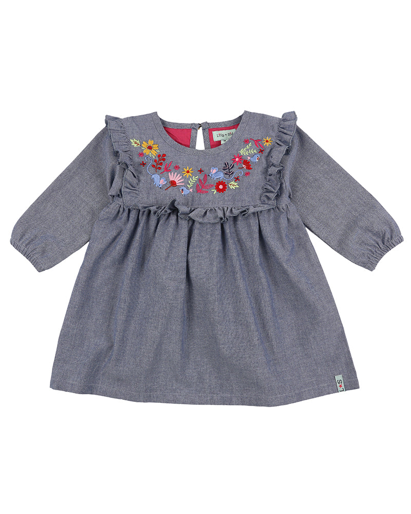 Lilly & Sid Woodland Embroidery Chambray Dress