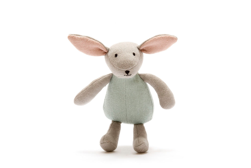 Organic Cotton Knitted Bunny Toy - Teal