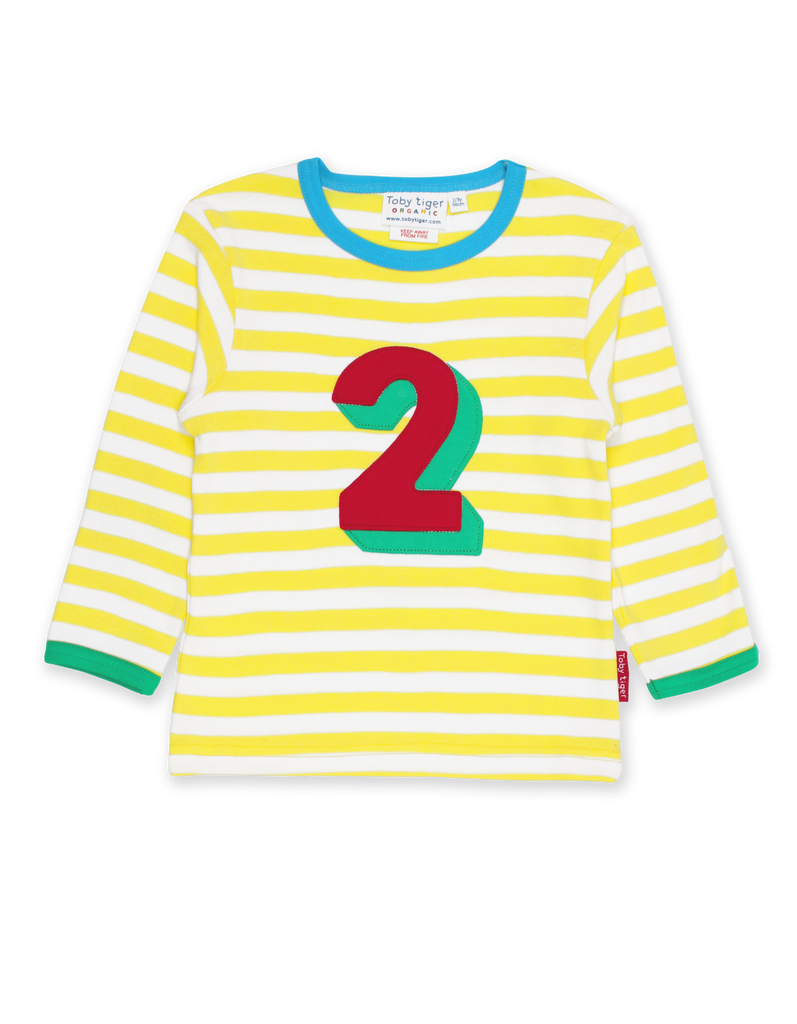 Toby Tiger Organic Number 2 Appliqué Yellow Stripe Top