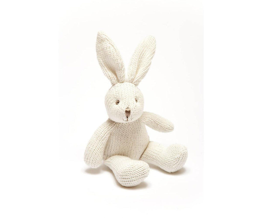 Knitted White Organic Cotton Bunny Rattle