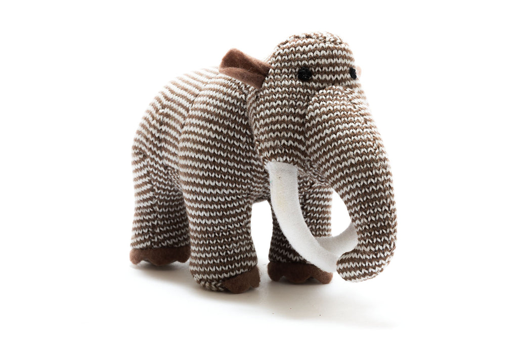 Knitted Woolly Mammoth Dinosaur Rattle Toy