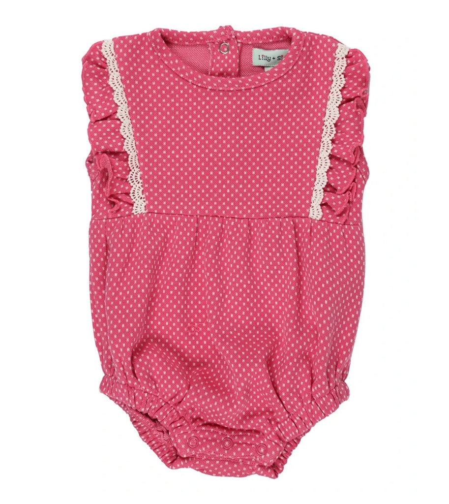 Lilly & Sid Jersey Dot Bubble Romper