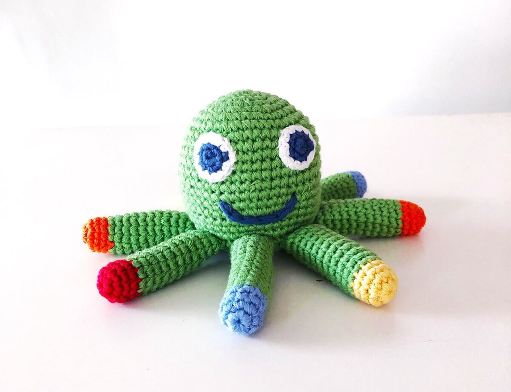 Crochet Cotton Green Octopus Apple Toy