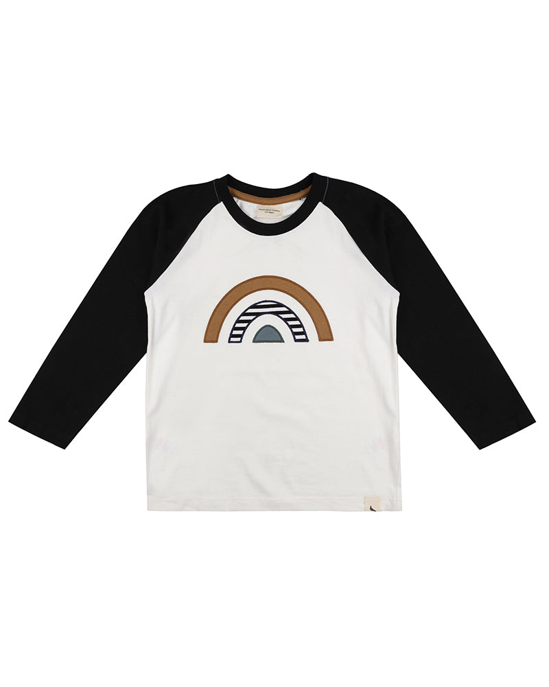Turtledove London Raglan rainbow appliqué top