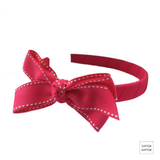 Bow on Alice Band Stitch Bright Pink