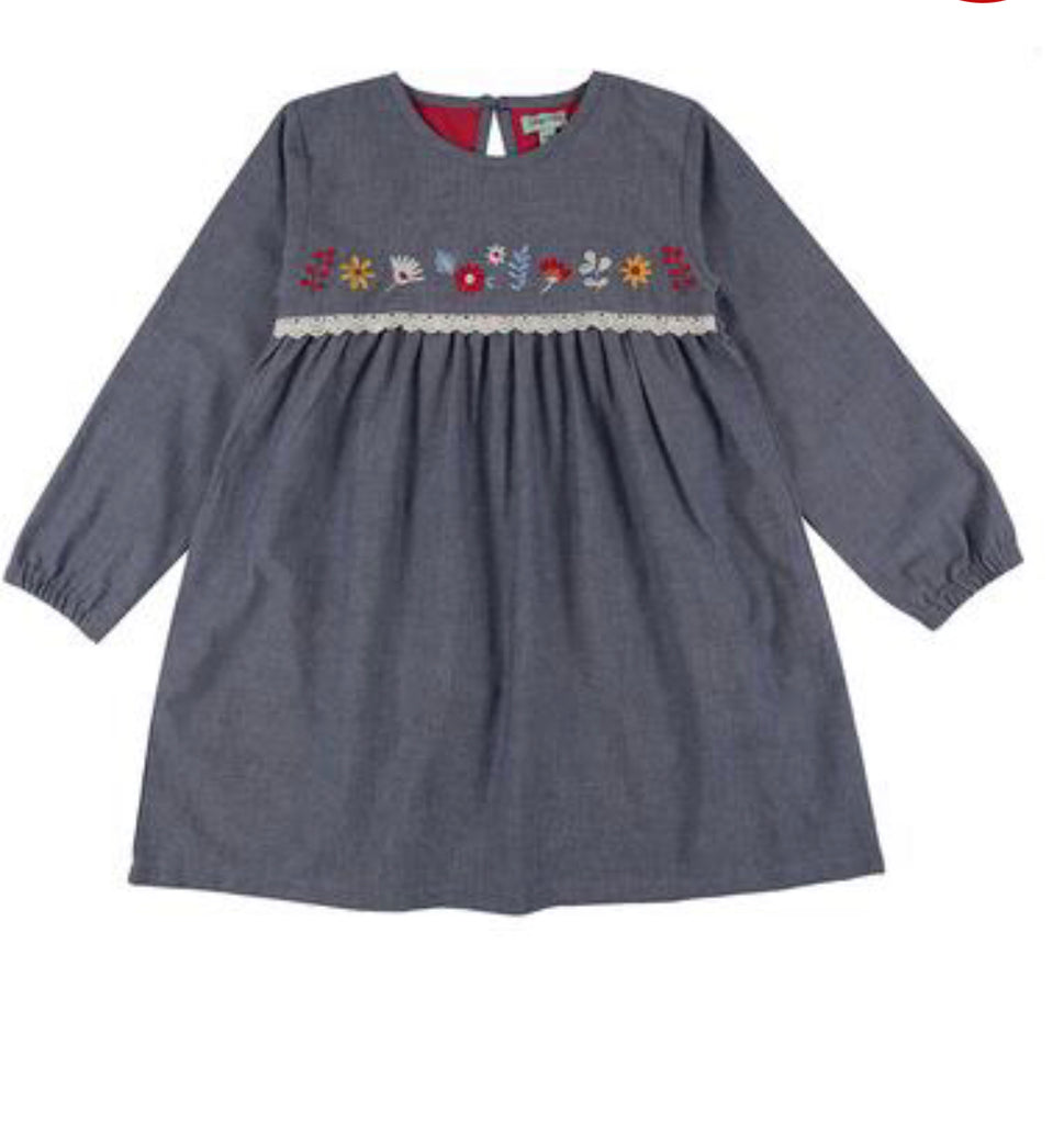 Lilly & Sid Embroidered Yoke Chambray Dress