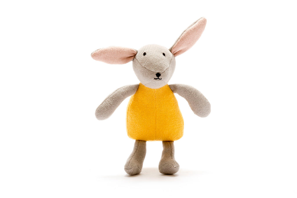 Organic Cotton Knitted Bunny Toy - Mustard