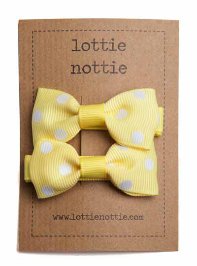 Polka Dot Bows Yellow with White Dots - Hair Clips