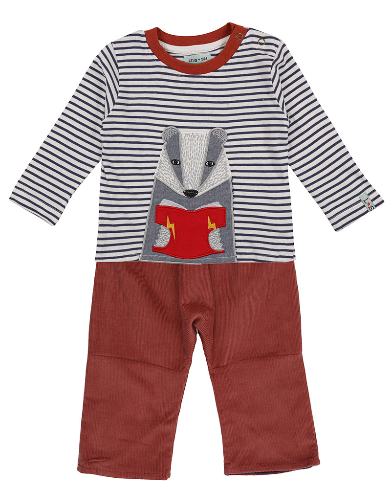 Lilly & Sid Badger Appliqué Trouser Set