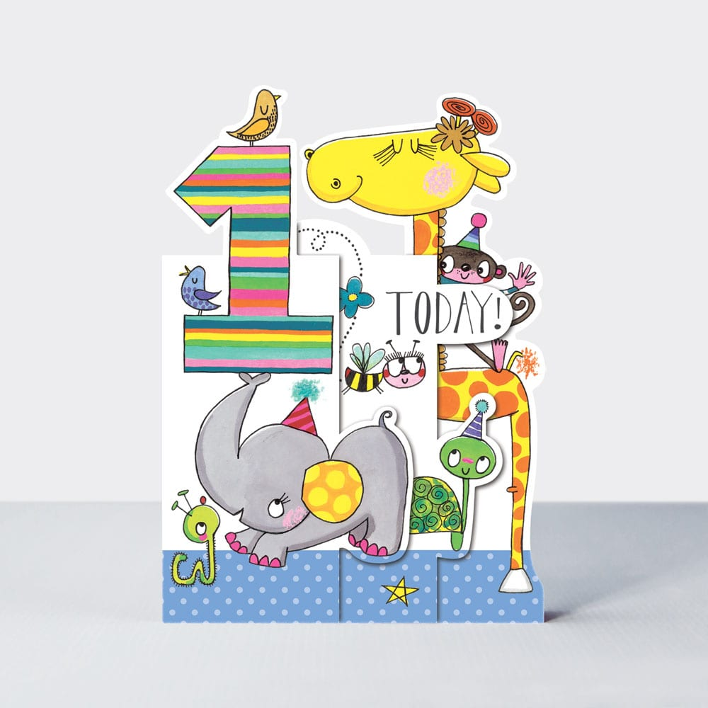 Age 1 Jungle Animals Birthday Card