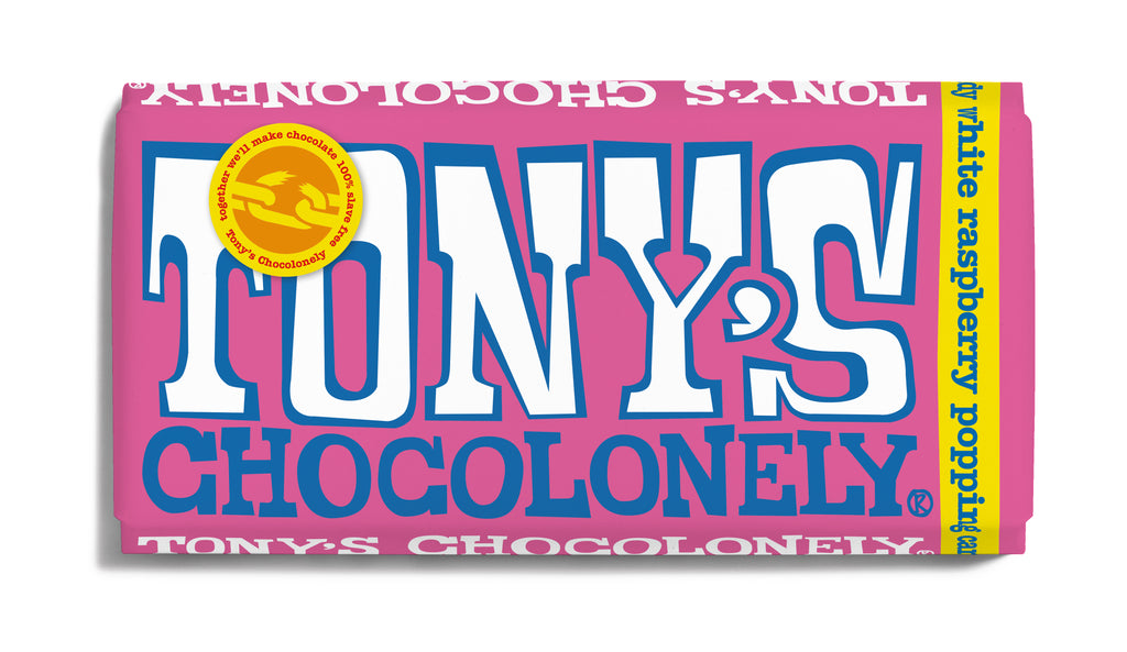 Tony's Chocolonely White Raspberry Popping Candy Big Bar