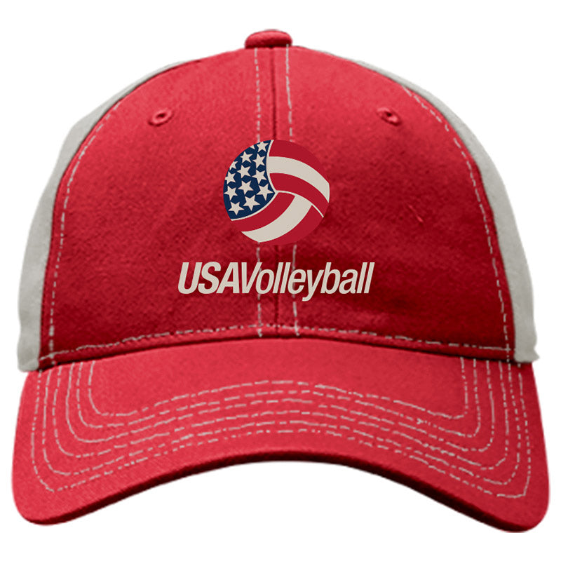 USA Volleyball Classic Colorblocked Hat Red Headwear