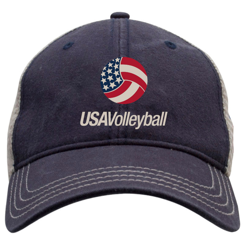 USA Volleyball Classic Colorblocked Hat Navy Headwear