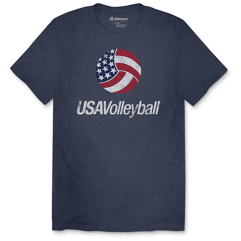 USA Volleyball Distressed Primary Tri-Blend Logo T-Shirt