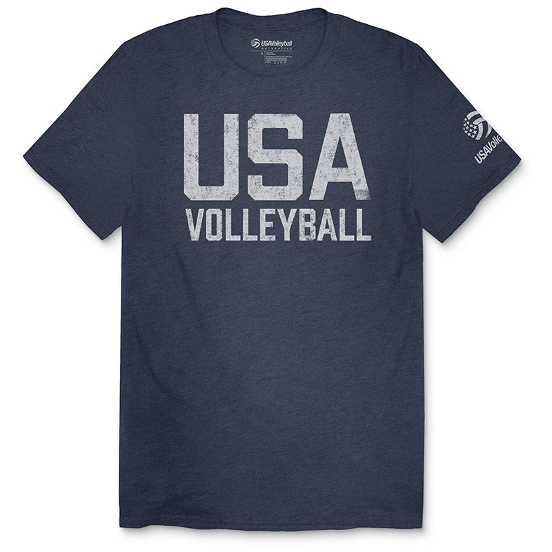 USA Volleyball Tri-Blend Distressed Straight Up T-Shirt