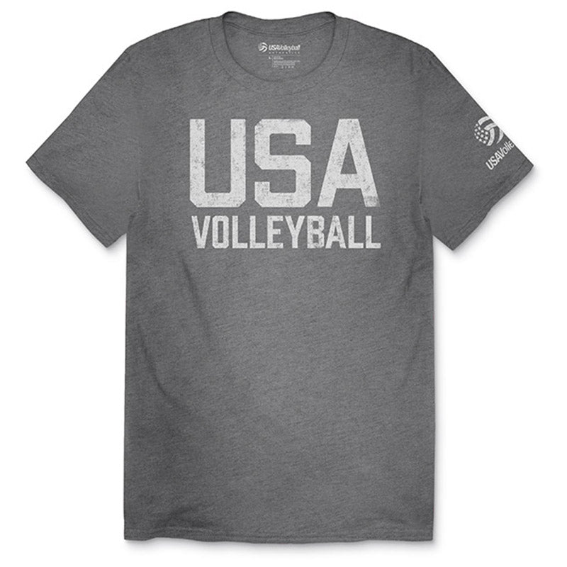 USA Volleyball Distressed Tri-Blend Straight Up T-Shirt
