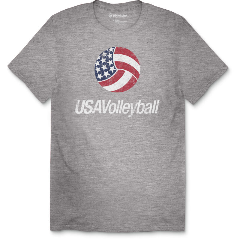 USA Volleyball Distressed Primary Cotton Logo T-Shirt