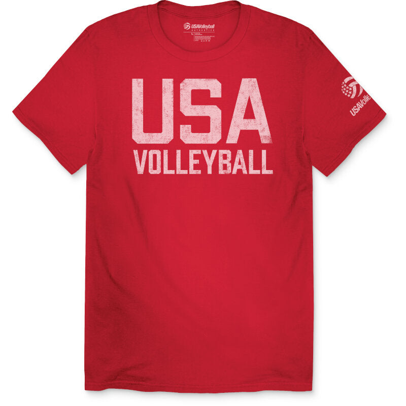 USA Volleyball Distressed Cotton Straight Up T-Shirt