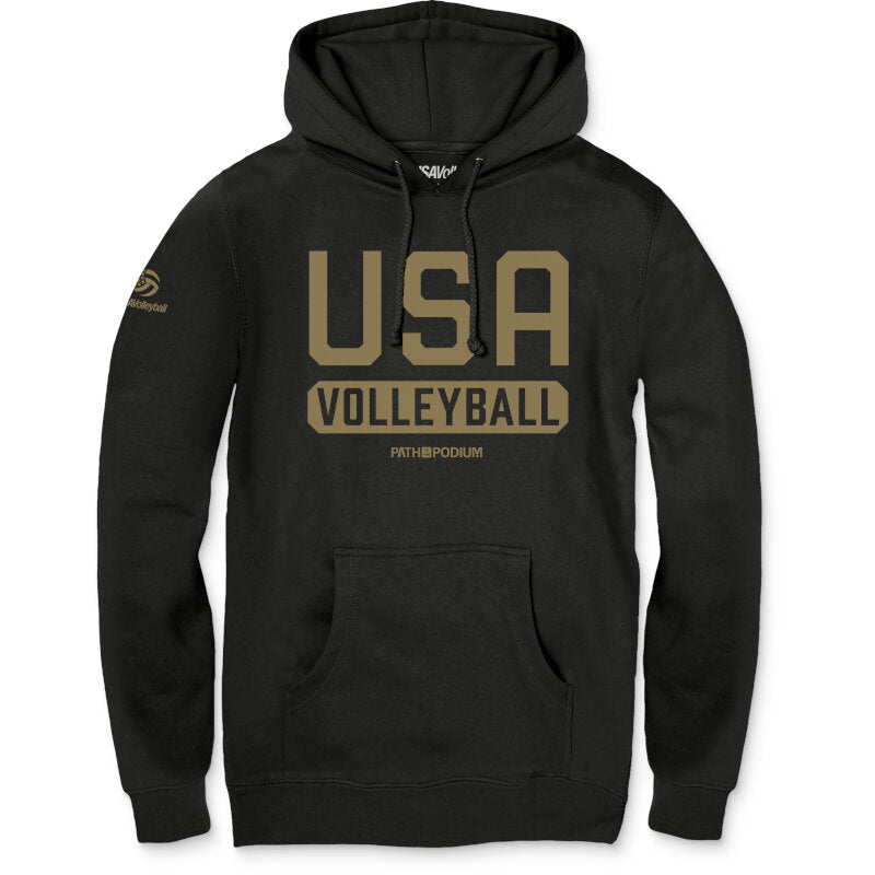 USA Volleyball Gold Issued P2P Unisex Fleece Pullover Hoodie