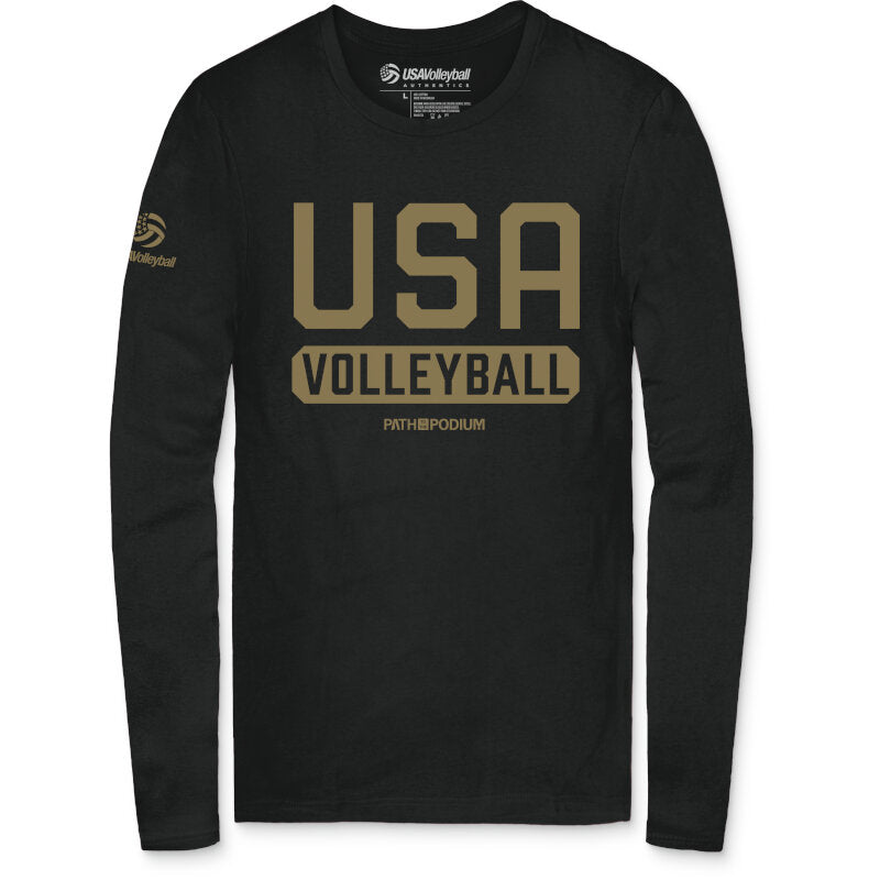 USA Volleyball Gold Issued P2P Men's Long Sleeve T-Shirt