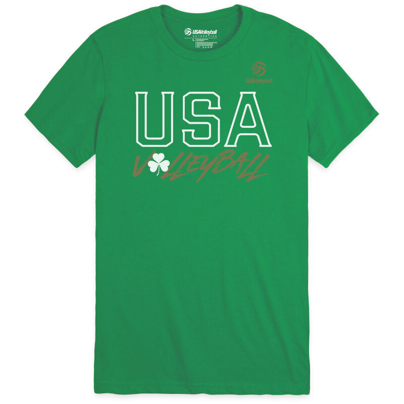 USA Volleyball Shamrock USA Unisex Sueded Short Sleeve T-Shirt
