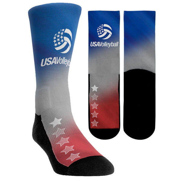 USA Volleyball Red White and Blue Gradient Socks