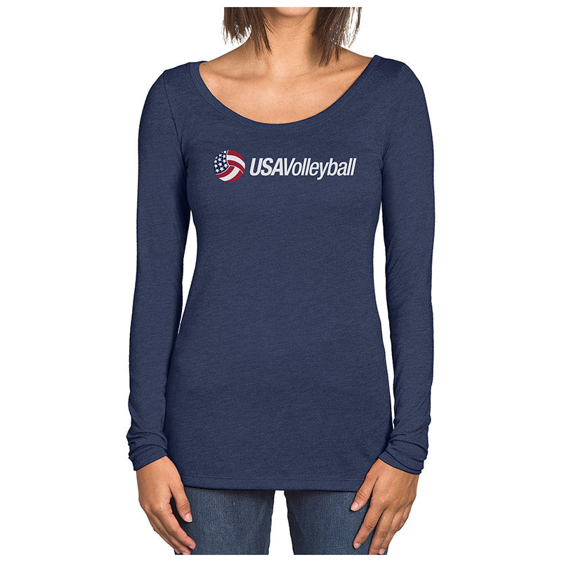 USA Volleyball Secondary Long Sleeve Logo Women's Tri-blend T-Shirt