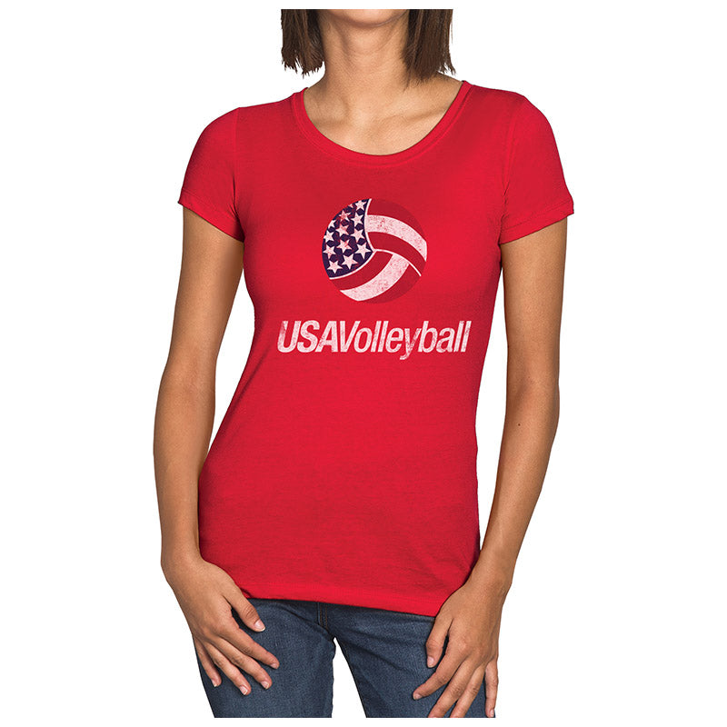 USA Volleyball Distressed Primary Logo Women's Tri-blend T-Shirt