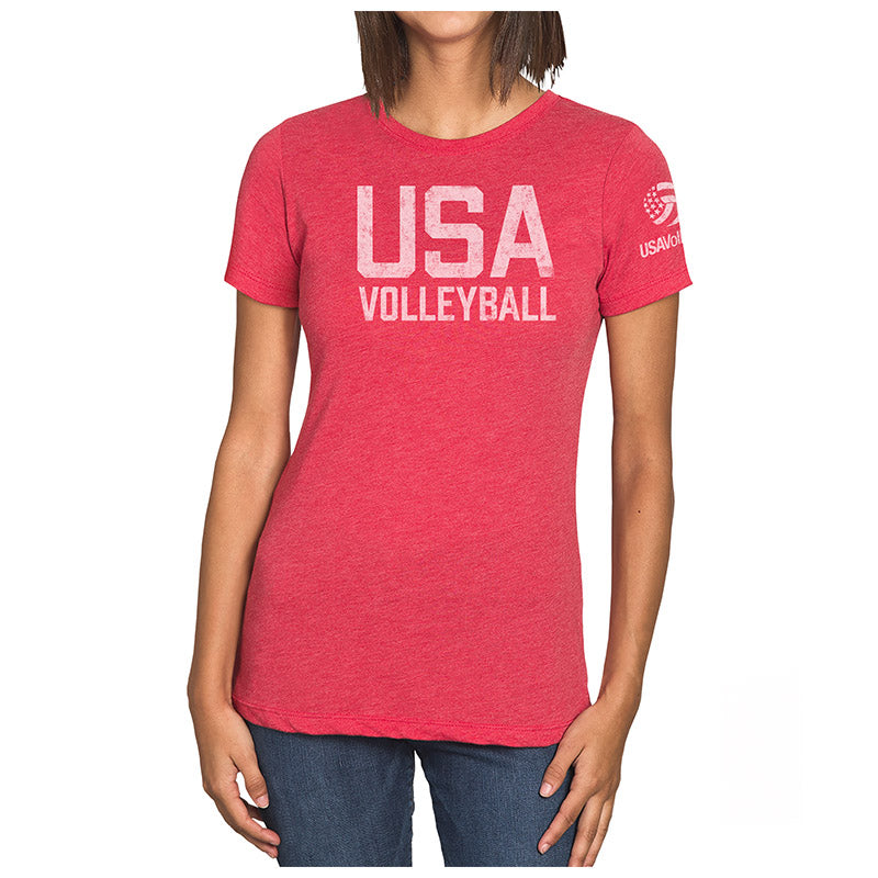 USA Volleyball Distressed Straight Up Logo Women's Tri-blend T-Shirt