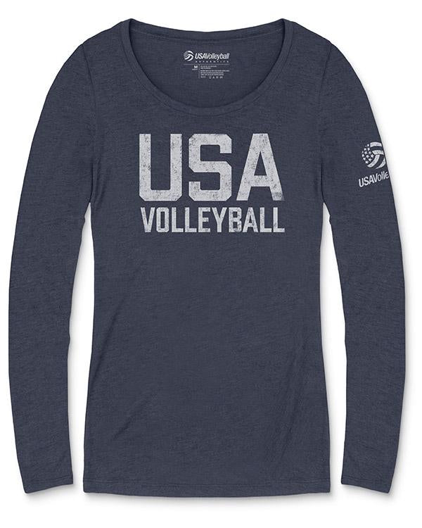USA Volleyball Distressed Straight Up Logo Long Sleeve Women's Tri-blend T-Shirt