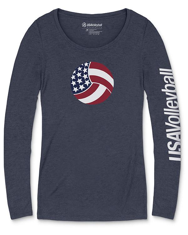 USA Volleyball Sidewinder Long Sleeve Women's Tri-blend T-Shirt