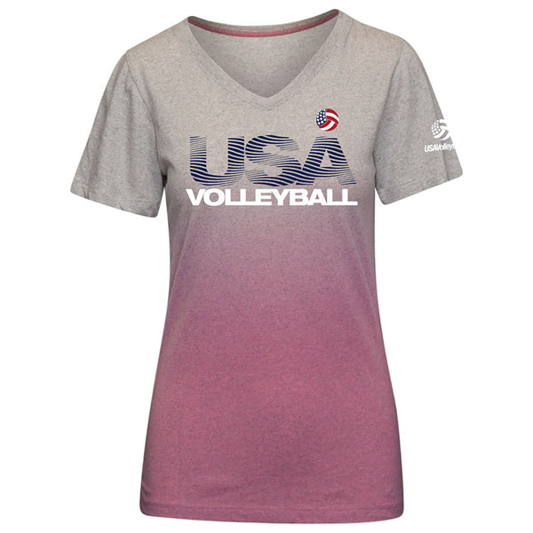 USA Volleyball Dip Dye V-Neck T-Shirt