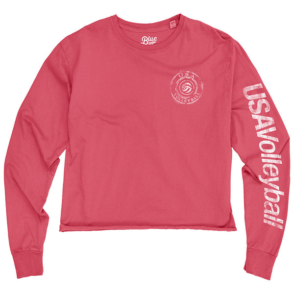 USA Volleyball Cropped Ringspun Long Sleeve T-Shirt