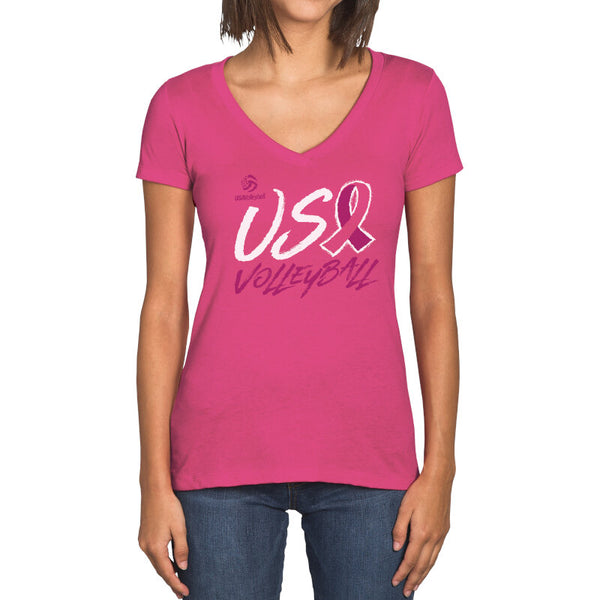 USA Volleyball Breast Cancer Awareness Womens V-neck T-Shirt