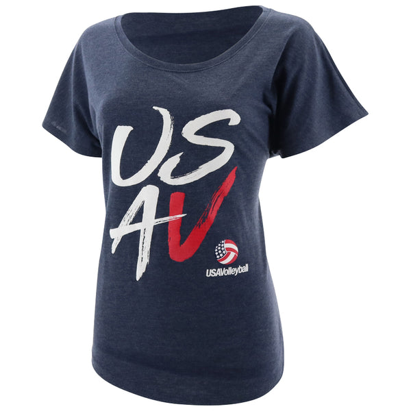 USA Volleyball USAV Stack Women's Tri-Blend Dolman T-Shirt