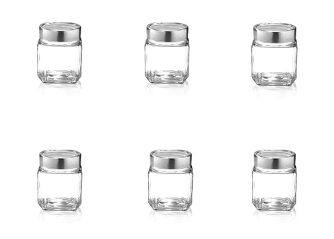 Treo By Milton Cube Storage Glass Jar, Set of 6, 580 ml - My Dream Kitchens