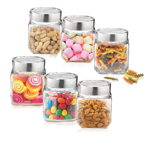 Treo Cube Jar Container Glass 180 ml Food Storage (Pack of 6, Clear) - My Dream Kitchens
