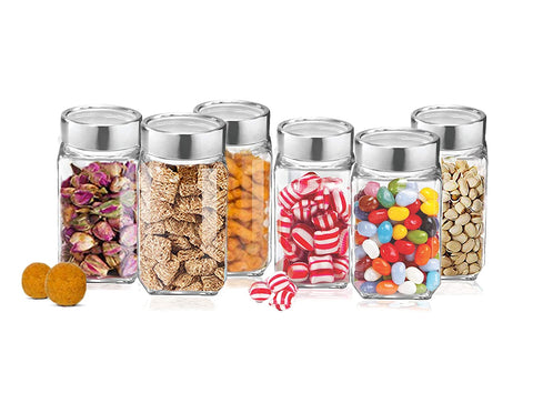 Treo By Milton Cube Storage Glass Jar, Set of 6, 800 ml - My Dream Kitchens