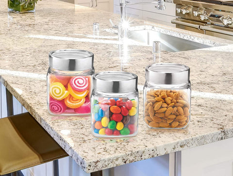 Treo by Milton Cube Storage Glass Jar Set of 3, 180 ml - My Dream Kitchens